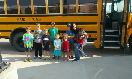 Bus stop at the Yoakum County Library