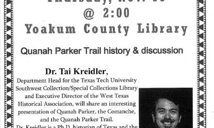 Quanah Parker program at Yoakum County Library in Plains
