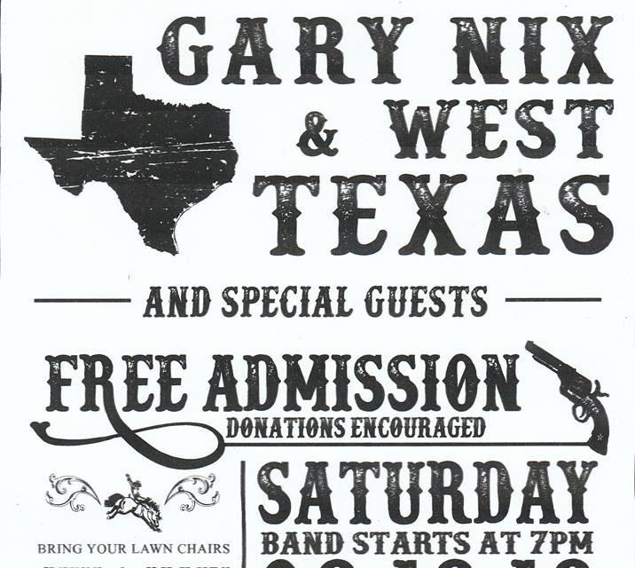 Gary Nix & West Texas at The Lynn Brisendine Community Park 8-18-18