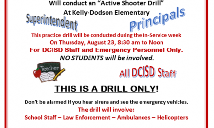 Reminder: DCISD Staff Only Active Shooter Practice Drill Tomorrow